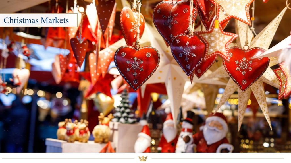Christmas gifts hanging at the Christmas Market in Regensburg, Germany