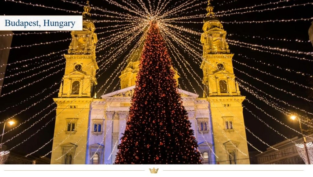 Cathedral in Budapest, Hungary, decorated for Christmas