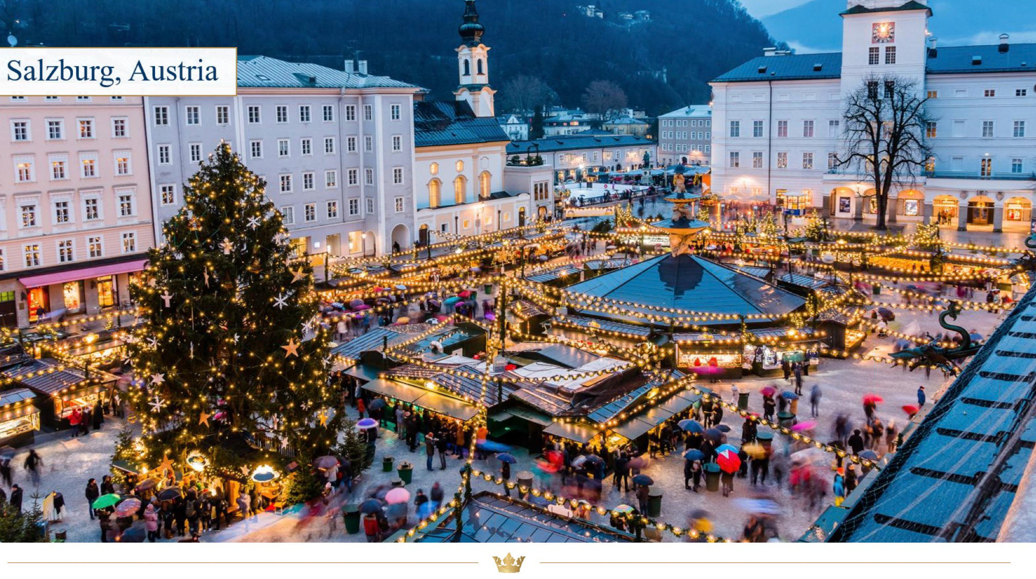 Christmas Market in Salzburg, Austria, a UNESCO-designated old town with a magnificent cathedral and the Alps as its backdrop.