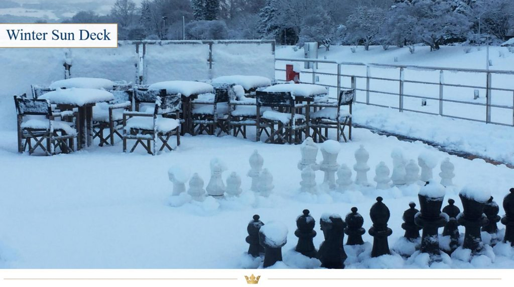 How the Sun Deck looks on board an AmaWaterways River Cruise ship on a snowy winter day in Europe. But don't worry, the cruise crew will clear it for you so you can still play chess with a view.