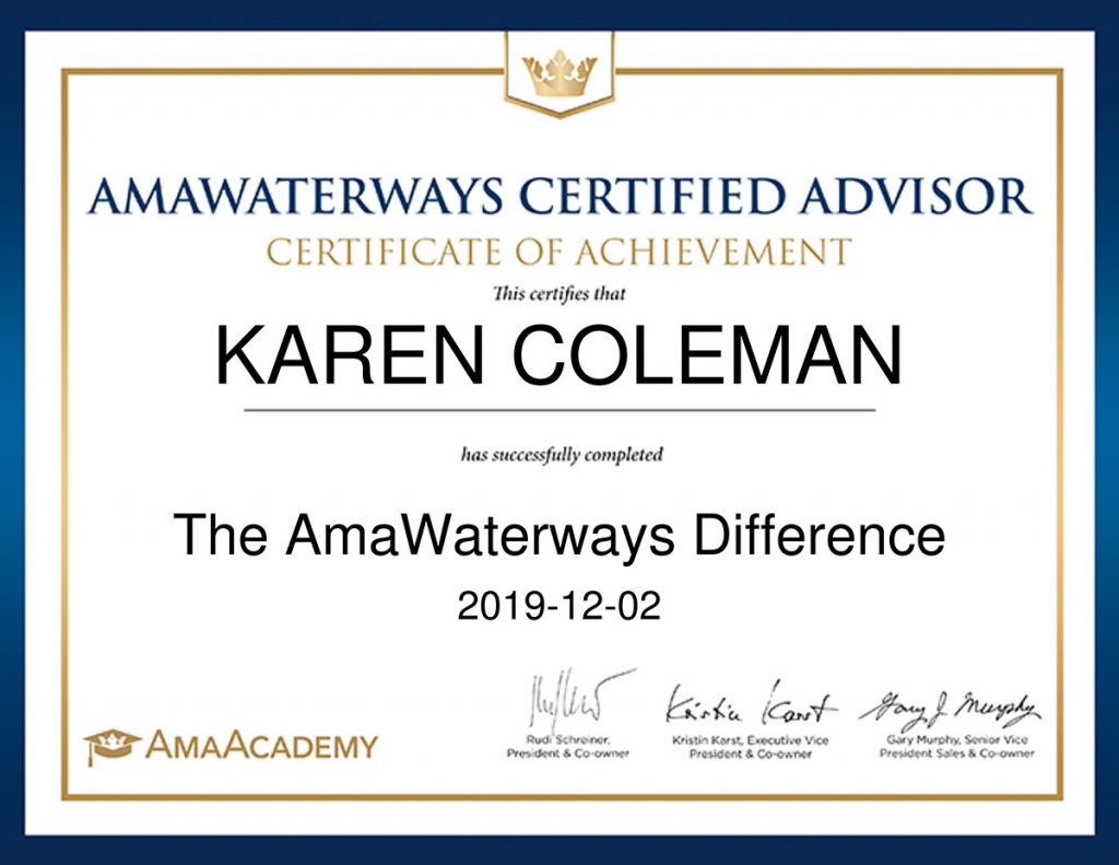 Avalon Waterways Specialist Course Certificate of Completion