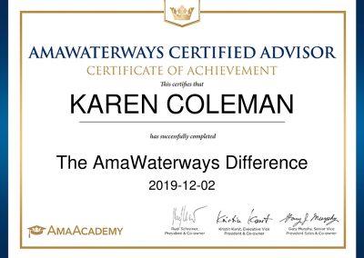 AmaWaterways Certified Advisor Certificate