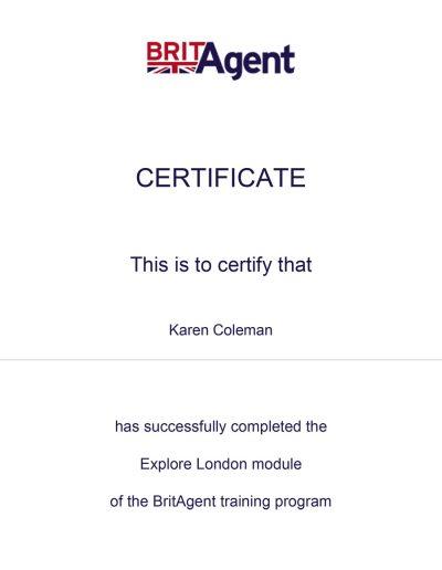 BritAgent Certificate Explore London