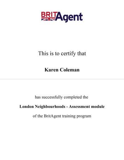 BritAgent Certificate London Neighbourhoods
