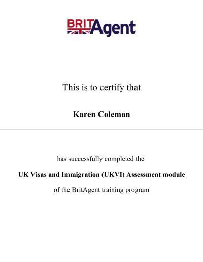 BritAgent Certificate UK Visas & Immigration (UKVI) Assessment