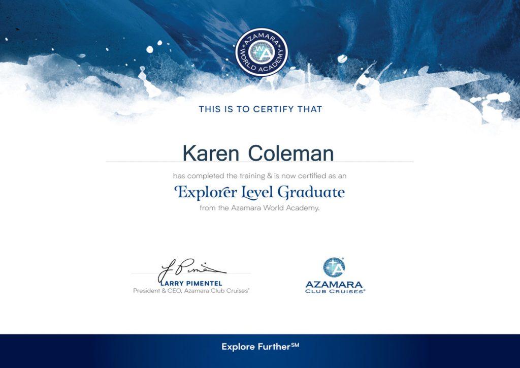 Azamara World Academy - Explorer Level Graduate Certificate - Azamara Club Cruises