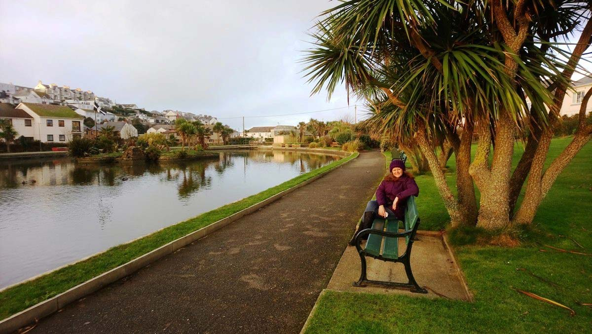Perranporth Pond in January - it's warm enough for palm trees