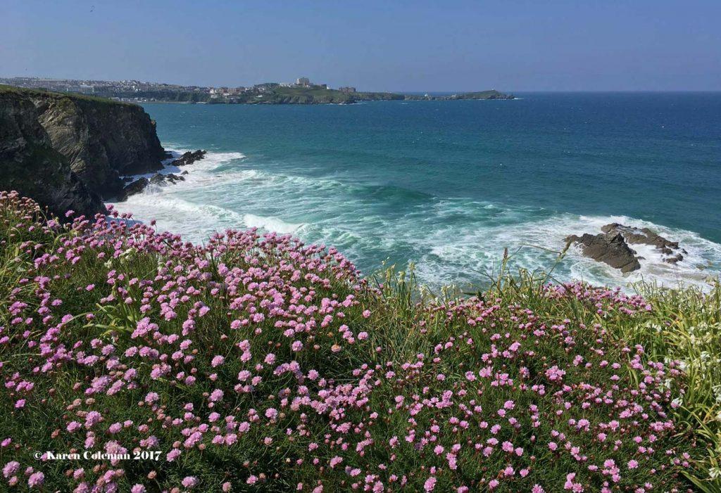 Coastal view from the southwest coastal path, near Newquay, Cornwall