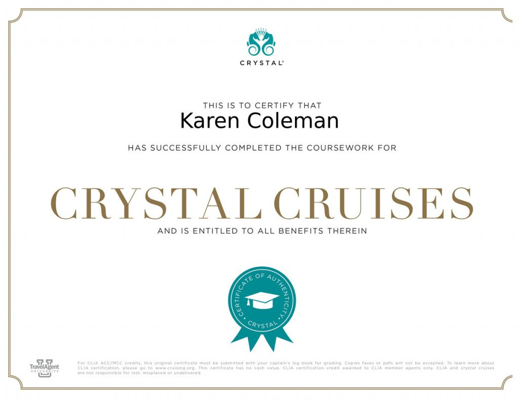 Crystal Cruises certificate