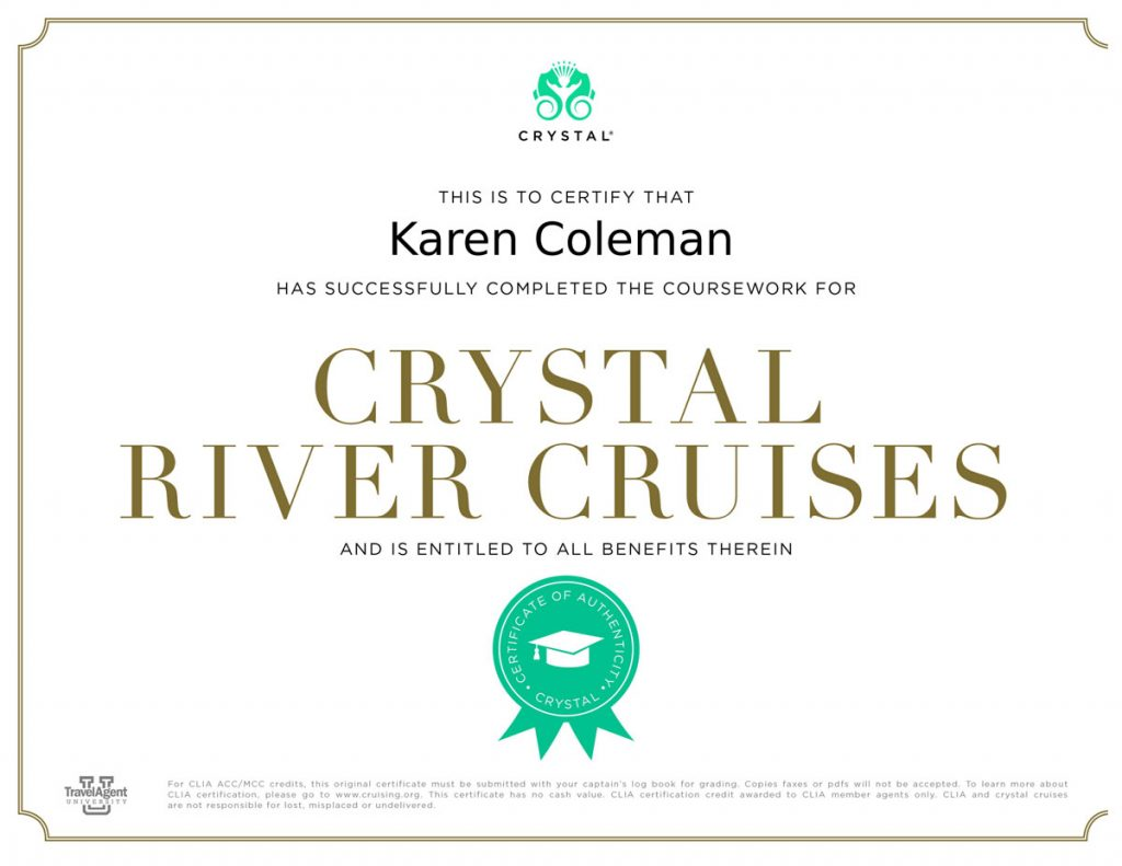 Crystal River Cruises certificate