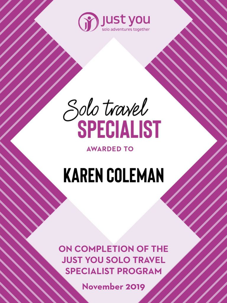 Just You Solo Travel Specialist Certificate