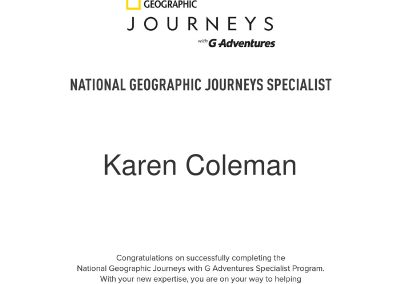 National Geographic Journeys Specialist Certificate