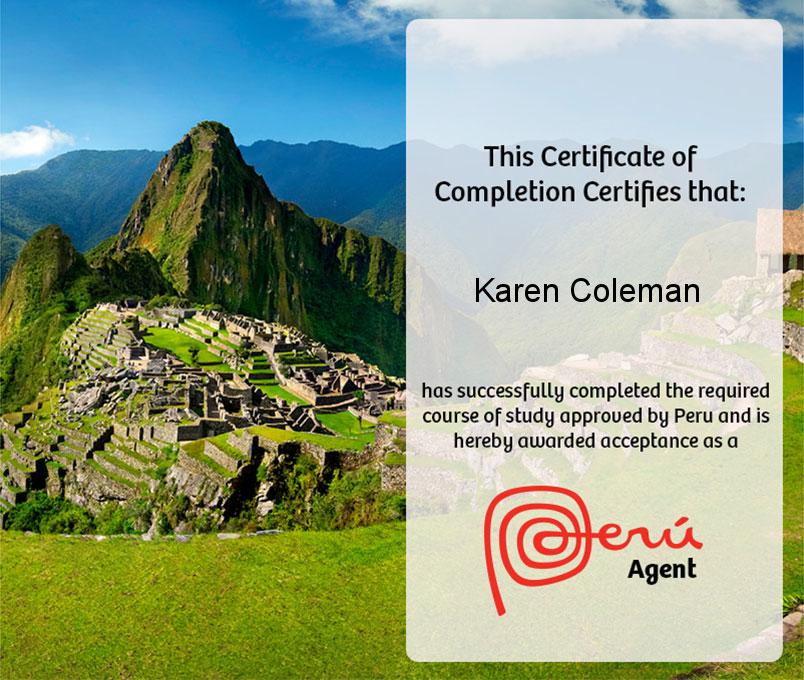 Peru Agent certificate