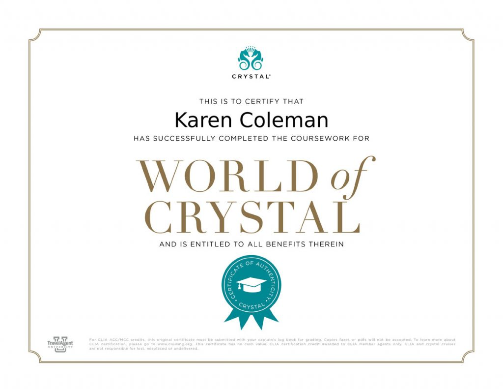 World of Crystal certificate