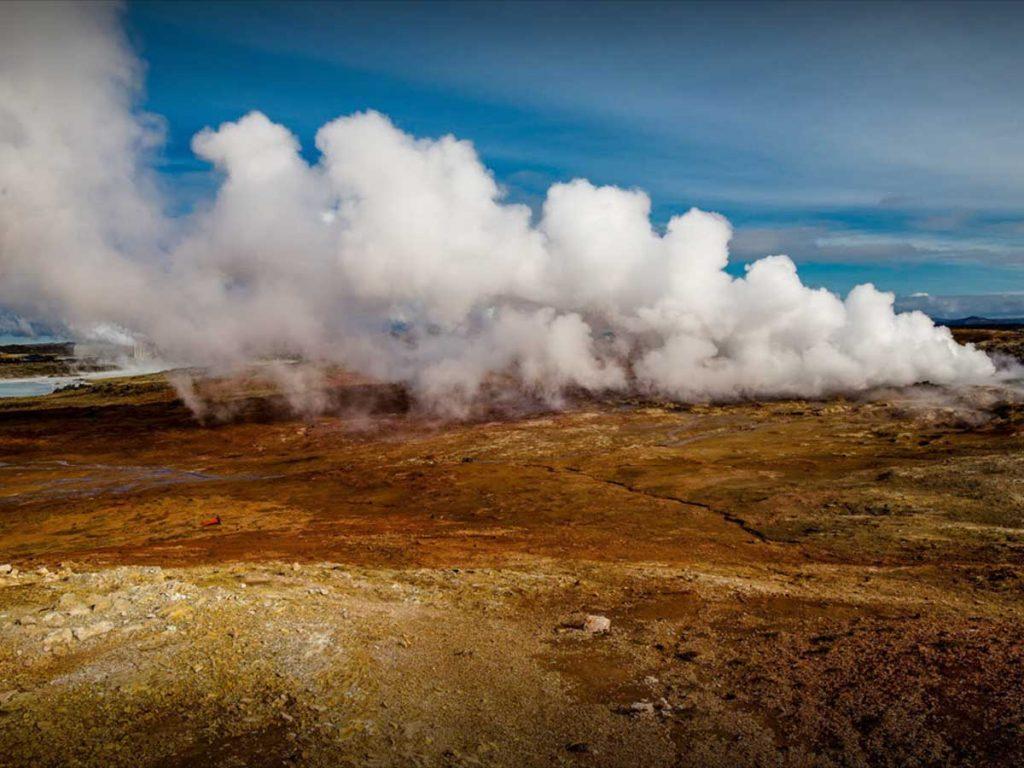 Gunnuhver Hot Springs Steam, Reykjanes Peninsula, Iceland