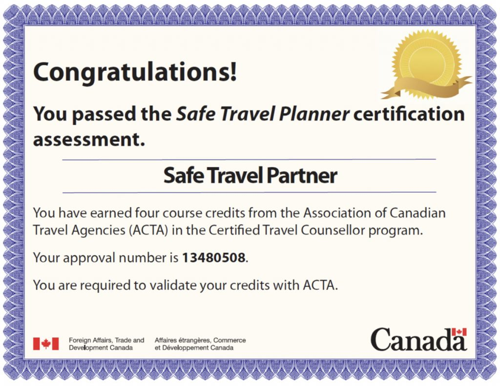 Safe Travel Planner Certification May 2020