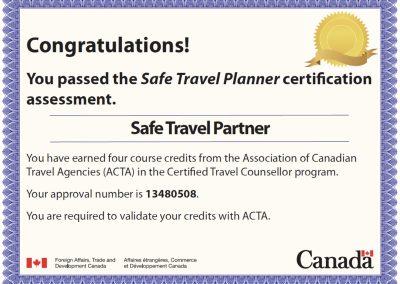 Safe Travel Planner Certification