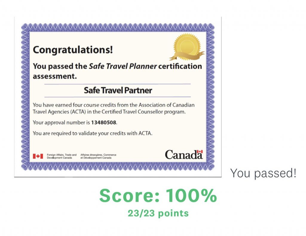 Safe Travel Planner Certification May 2020 - showing pass mark