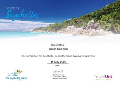 Seychelles Superstar Certificate