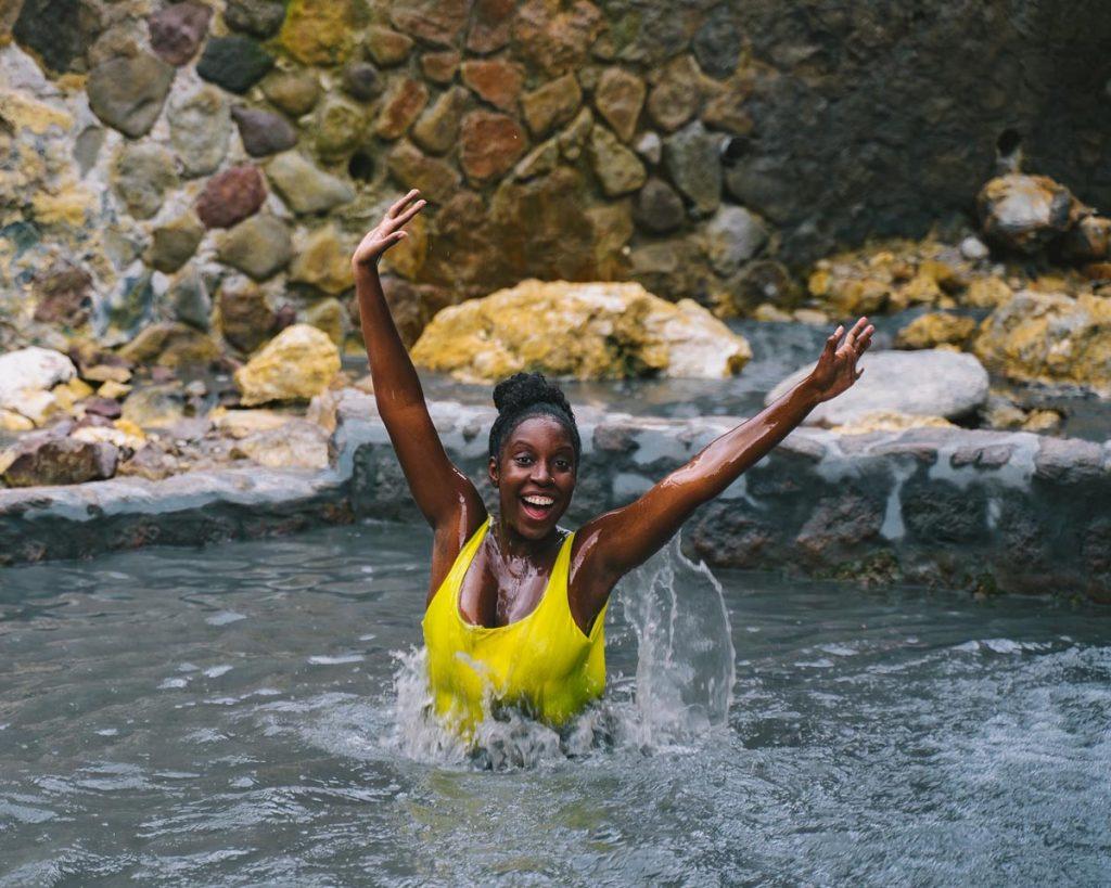 Solo female traveller rejuvenates in a Saint Lucia stone bath