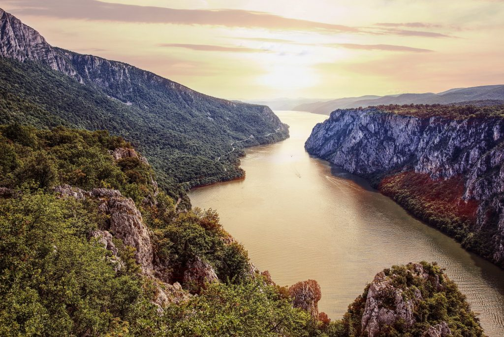 Narrow gorge along the Danube between Serbia and Romania known as the Iron Gates