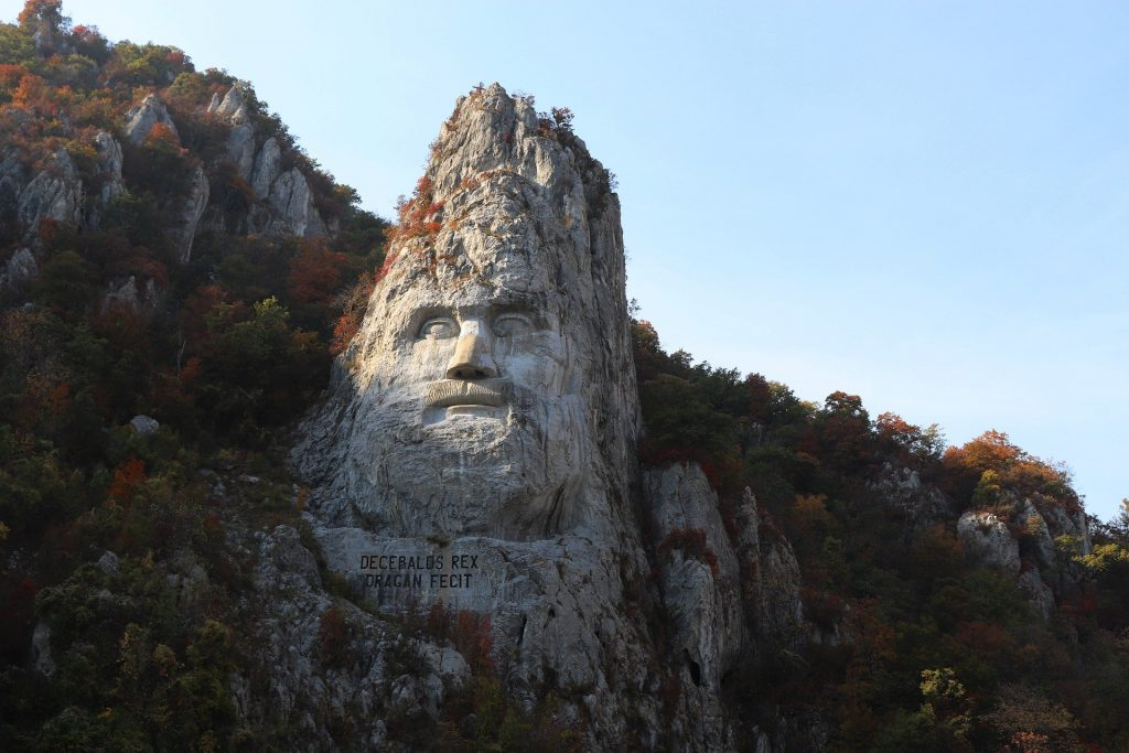 Decebalus rock sculpture, Danube, Romania