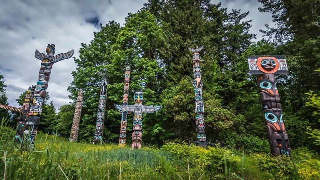 Totem poles Stanley Park Vancouver Canada