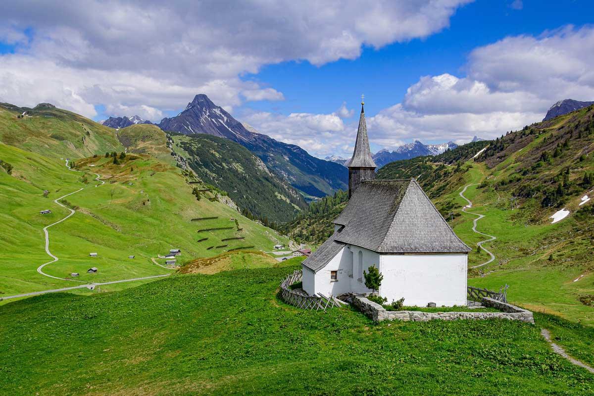 St. Jakobus am Simmel chapel near Hochkrumbach and Warth, in Vorarlberg, Austria