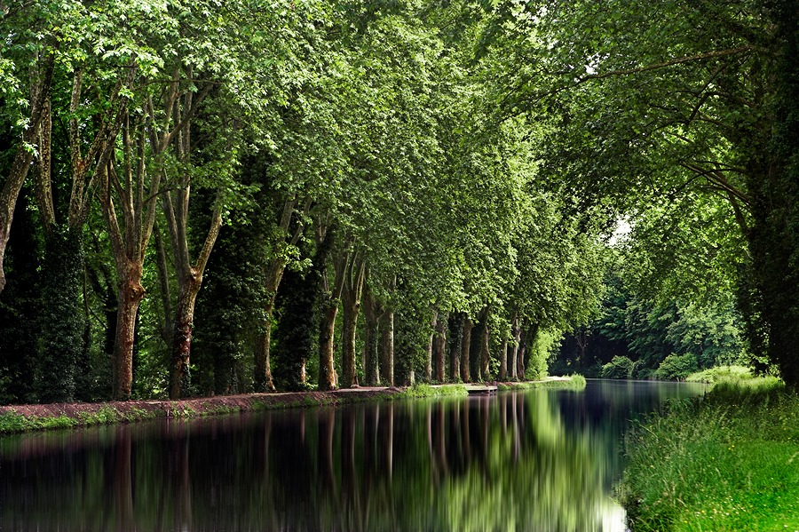Peaceful canal in France
