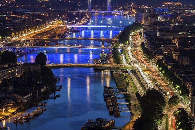 Bridges over the Seine river in Rouen France