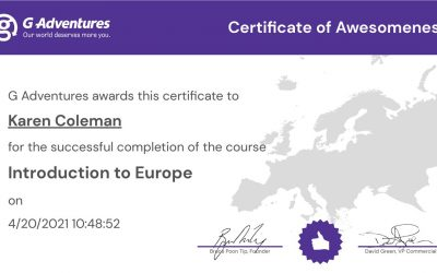 G Adventures Introduction to Europe Certification