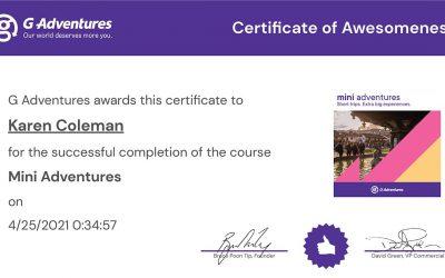 G Adventures Mini Adventures Certification