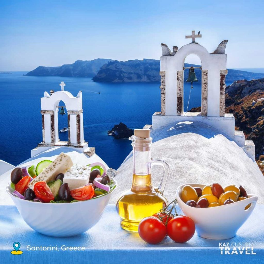 Greece awarded Top Sustainable Foodie Destination 2021 by Lonely Planet - pictured is is a Greek Salad in Santorini